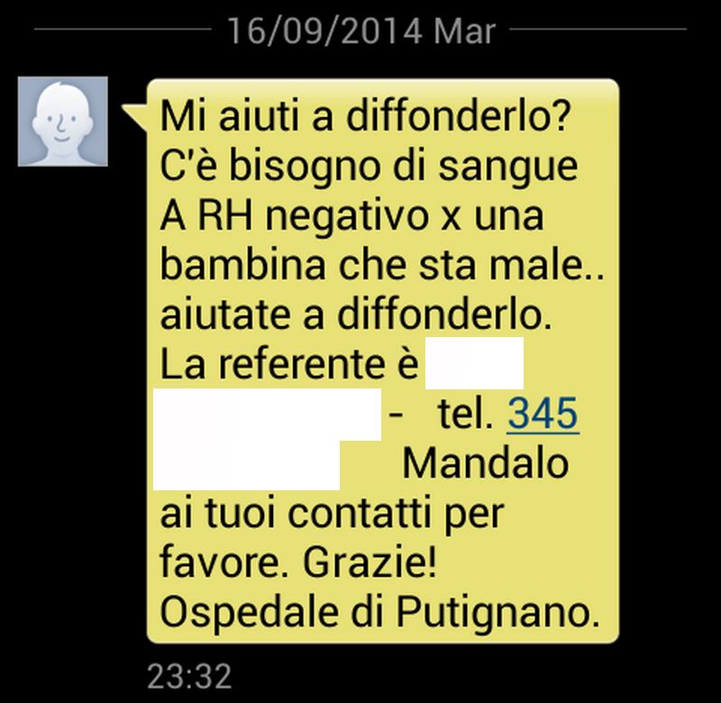 screenshot messaggio