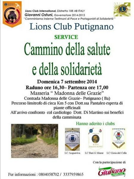 Lions Putignano Cammino salute e  solidarieta