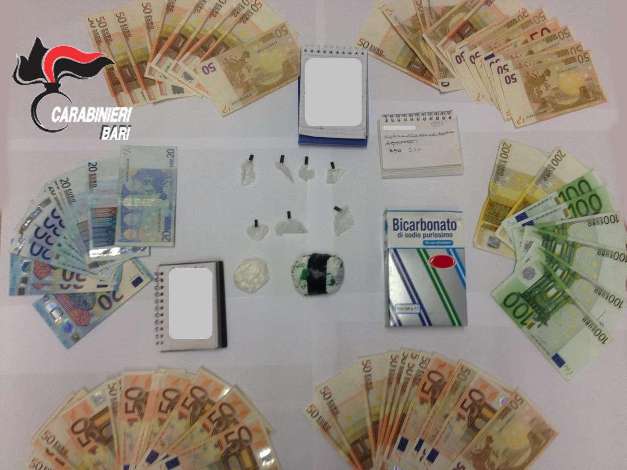 Castellana Grotte. La droga e il denaro sequestrato