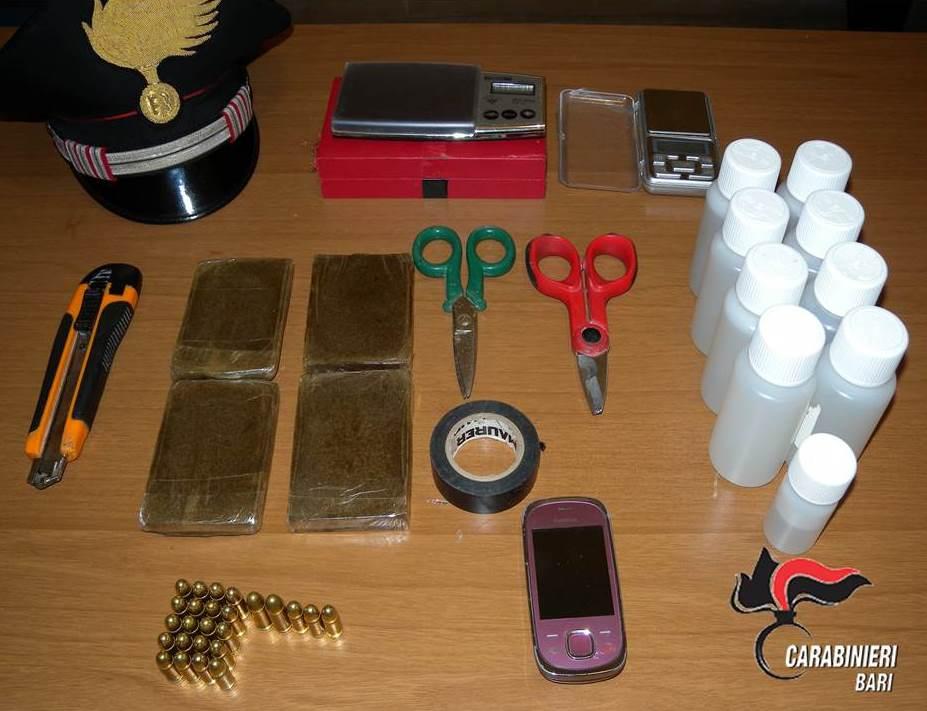 Gioia La droga e le cartucce sequestrate